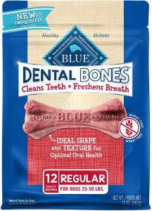 Blue Buffalo Dental Bones Natural Adult Dental Chew Dog Treat Regular 12-oz bag