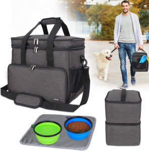 Teamoy Double Layer Dog Travel Bag with 2 Silicone Collapsible Bowls