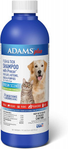 Adams Plus Flea and Tick Shampoo with Precor for Cats and Dogs, 24 Ounces